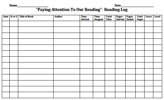 Reading Homework Log Forms For Middle Grade Students